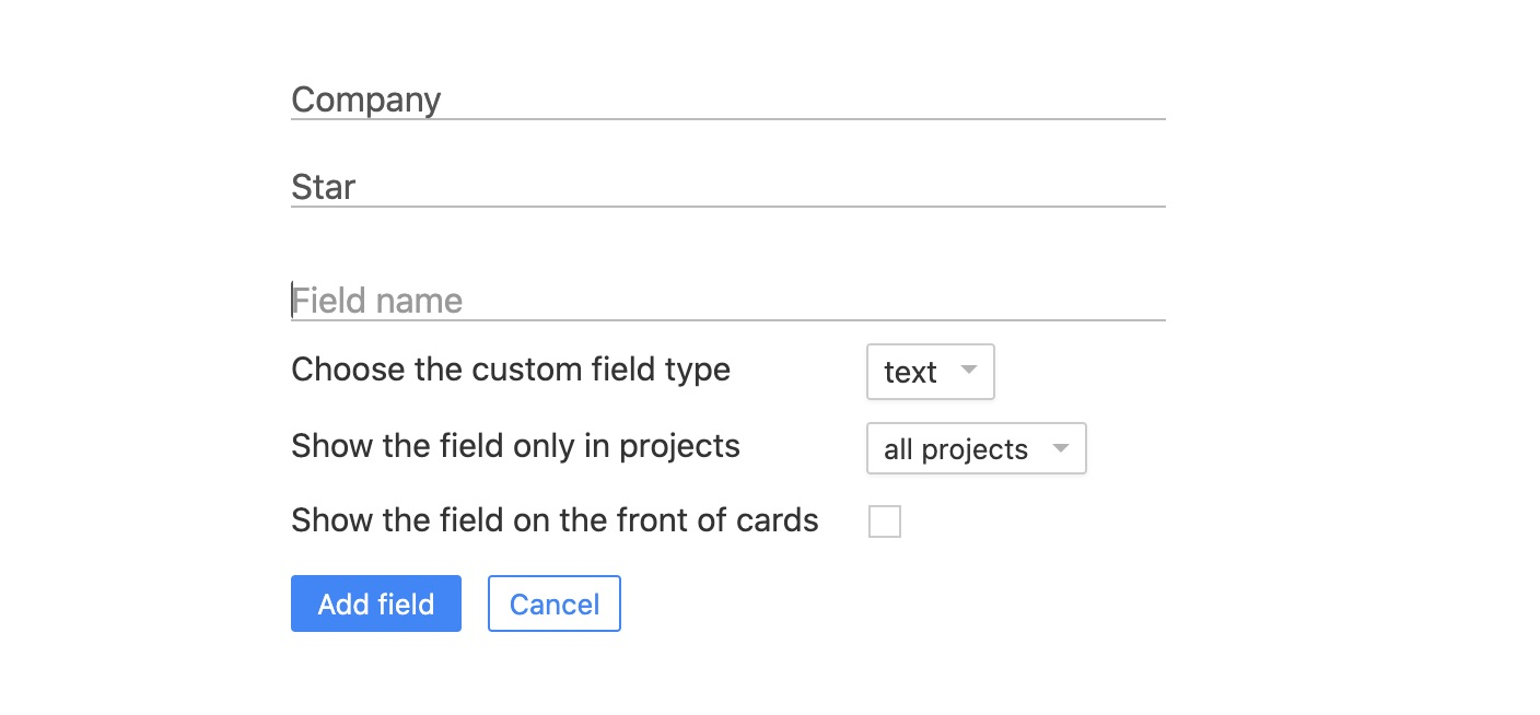 Custom fields management page
