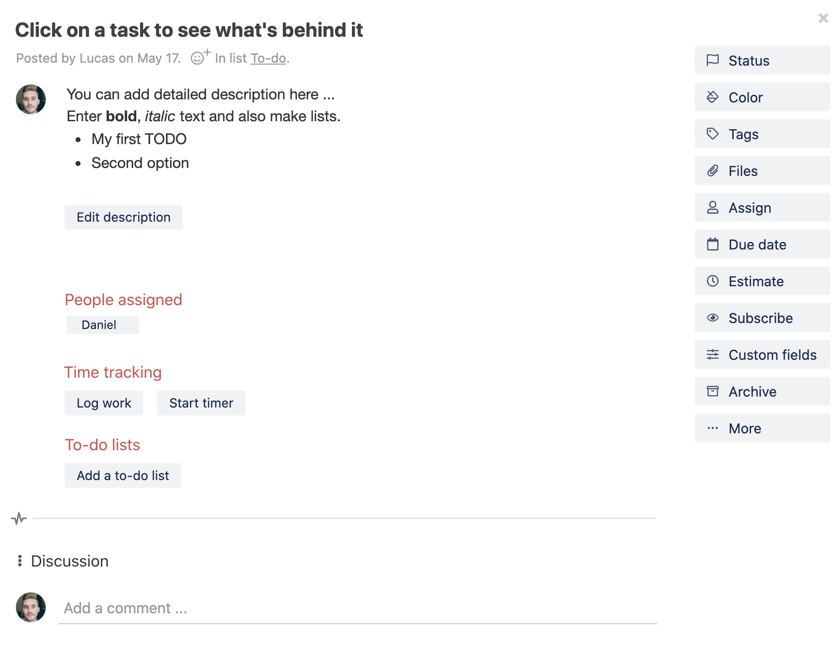 Task detail window