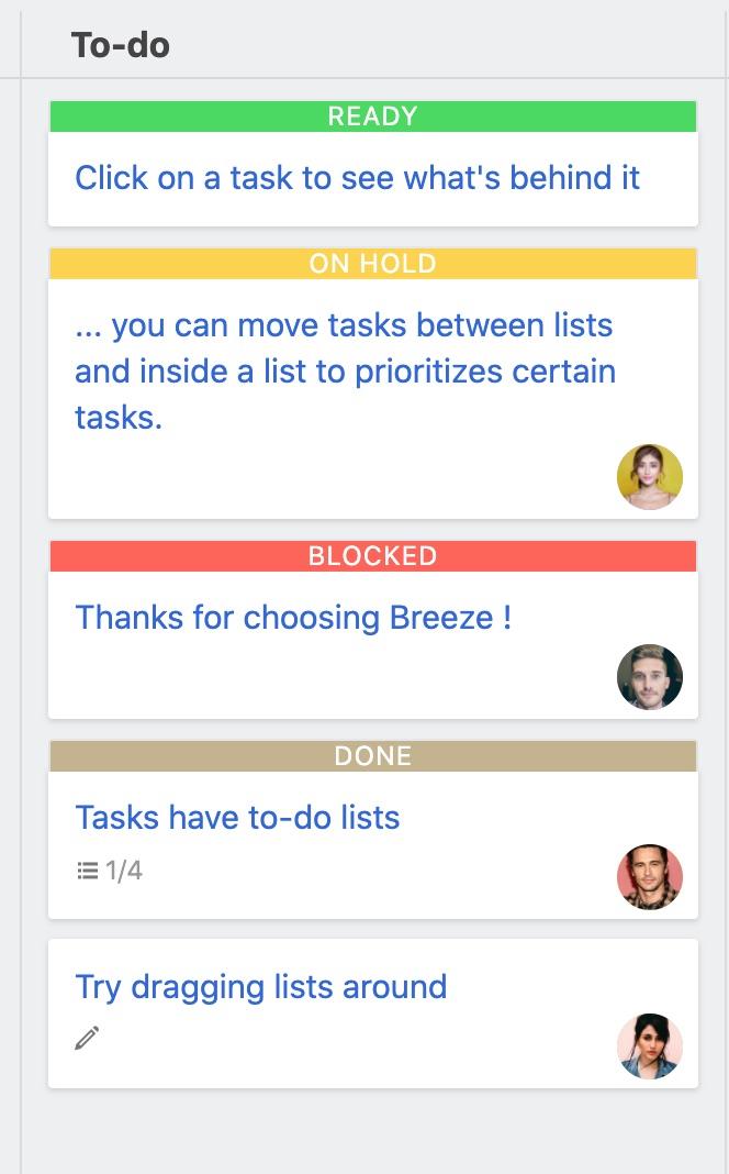 Tasks with statuses
