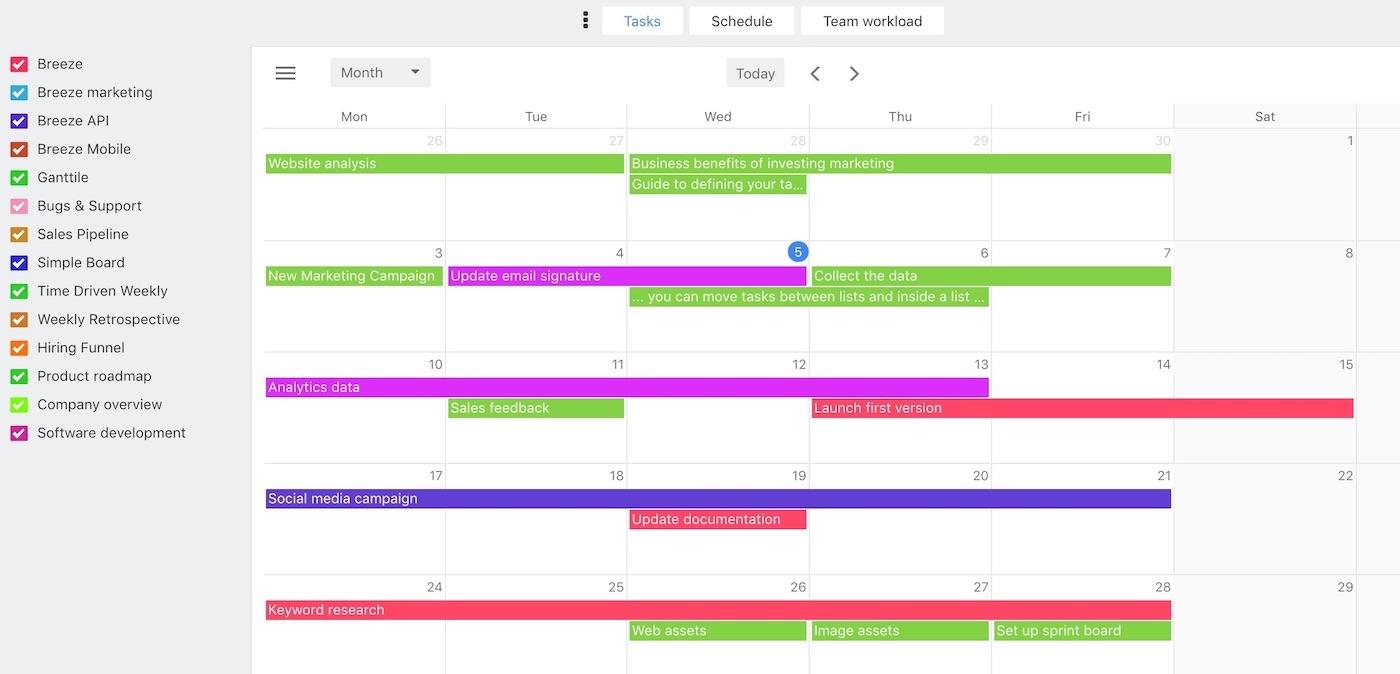 Task calendar. Team planner.