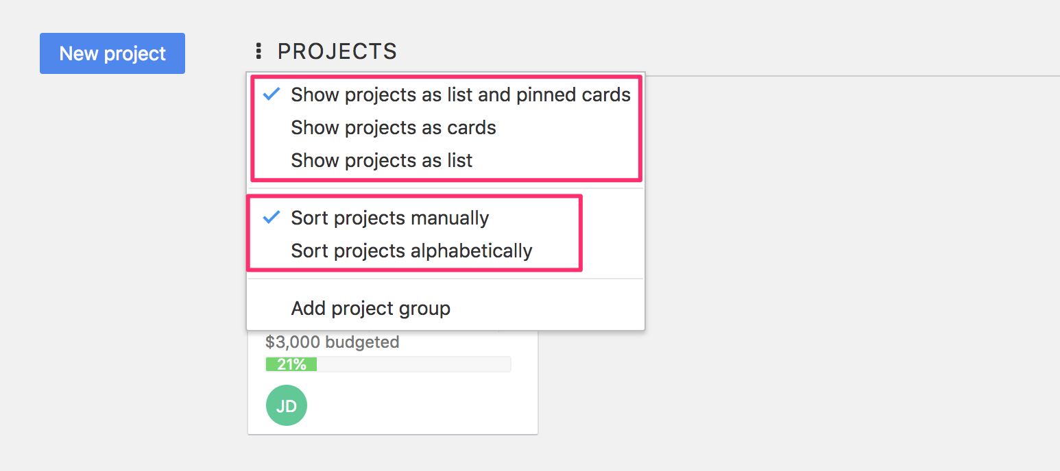 Project boards sorting