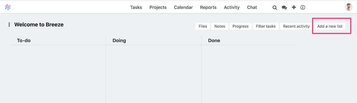 Adding task list