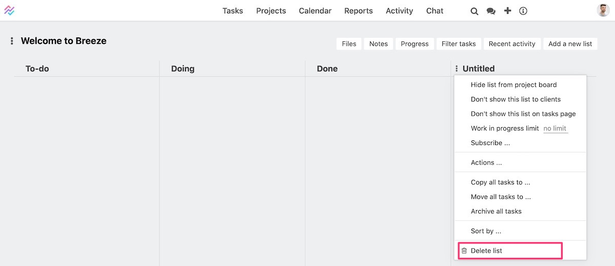 Deleting task list
