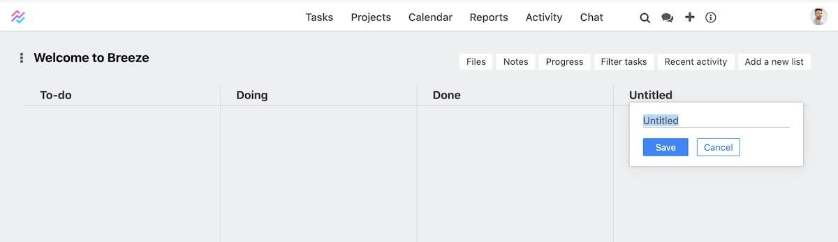 Renaming task list