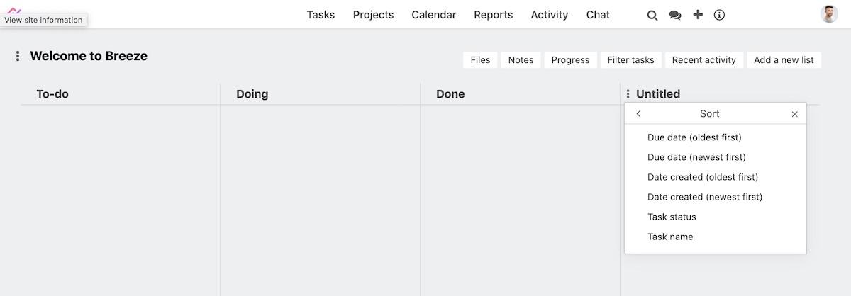 Sorting task list