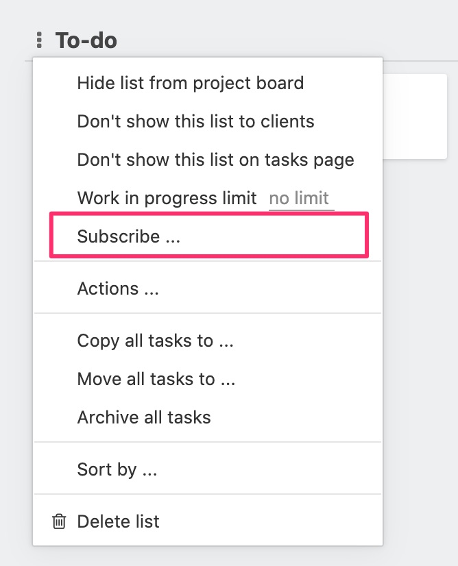 Subscribing to task list