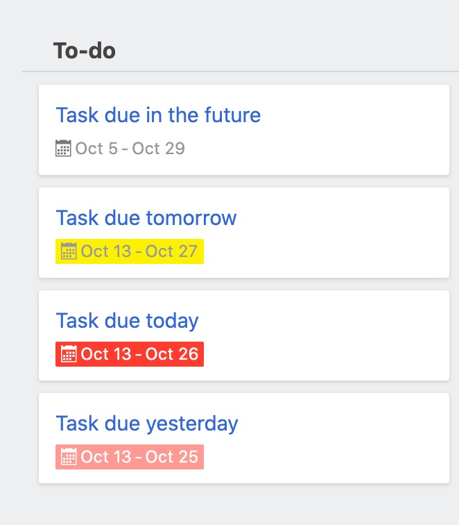 Task due dates with color