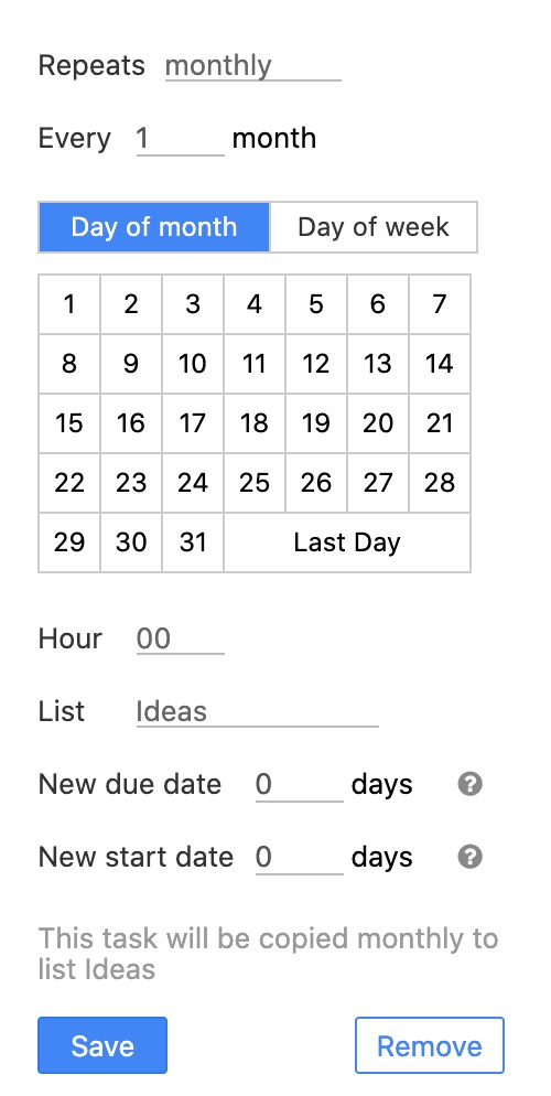 Recurring monthly