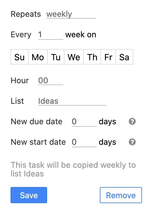 Recurring weekly