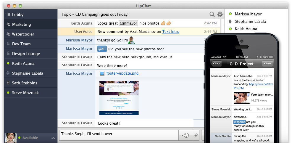 HipChat appilcation screenshot