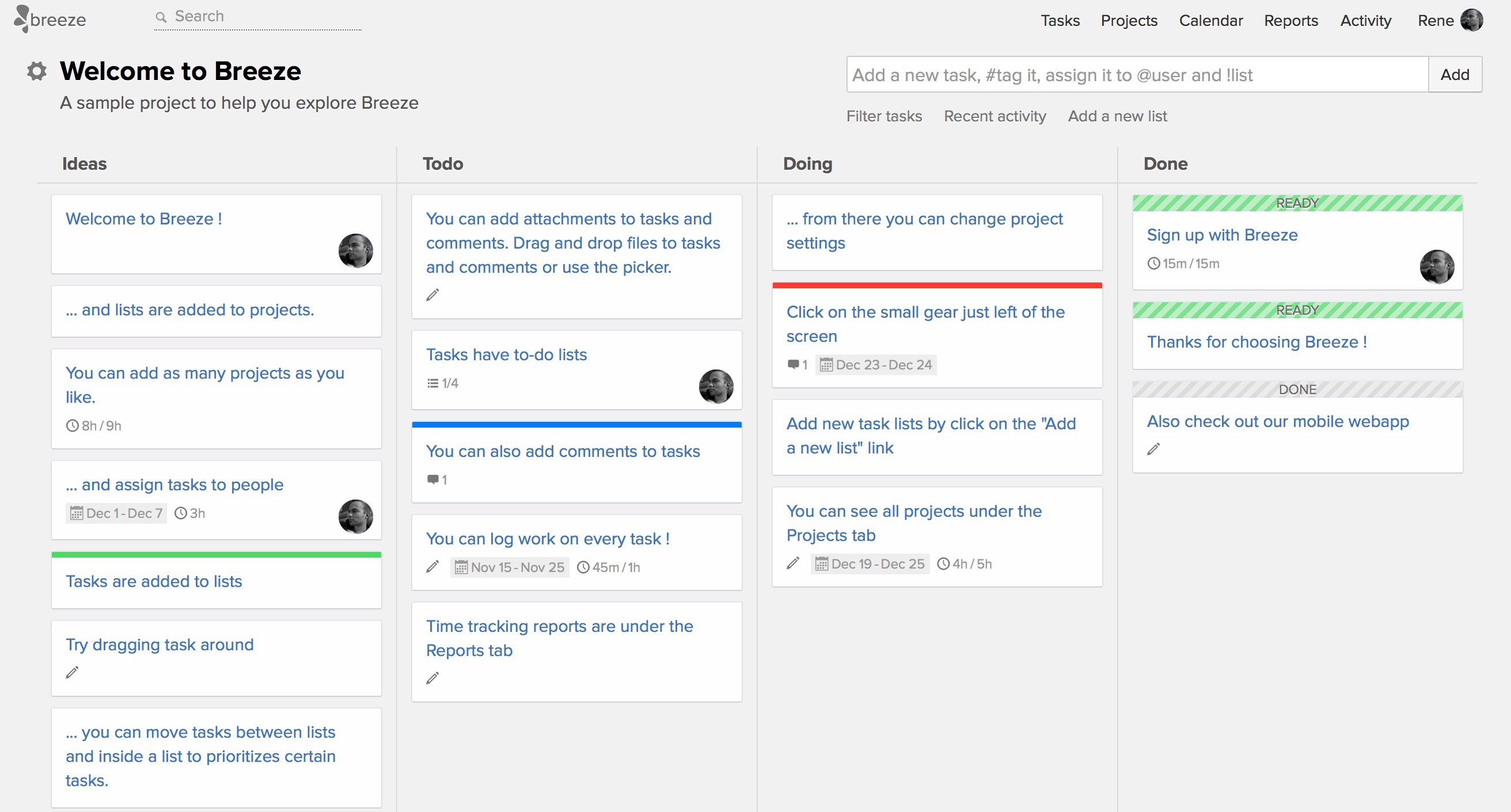 Project board with tasks, comments, to-dos, files - a Kanban board.
