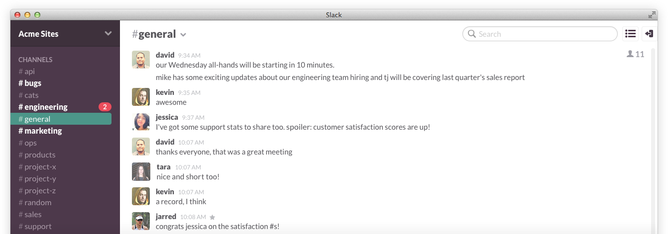 Slack application screenshot
